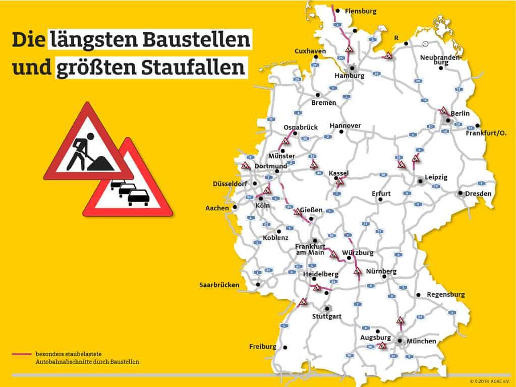 538 Baustellen auf den deutschen Autobahnen