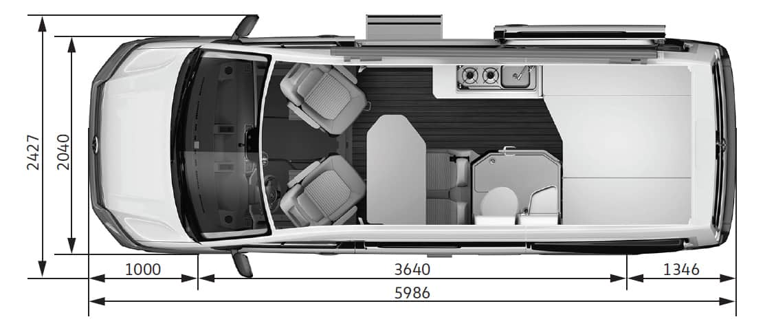 Grundriss des VW Grand California 600.
