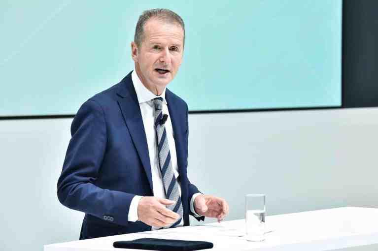 Volkswagen-Konzernchef Dr. Herbert Diess bei der Präsentation der Zahlen für das erste Halbajhr 2018.