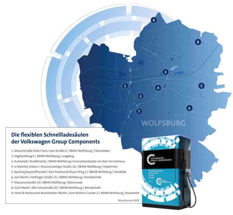 An diesen Orten sind die Schnellladesäulen  in Wolfsburg zu finden.