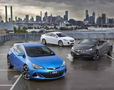 Holden Astra VXR, Insignia VXR und Cascada (v.l.).