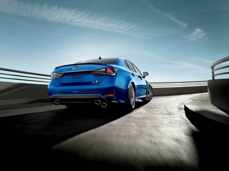 Lexus GSF in motion back detail