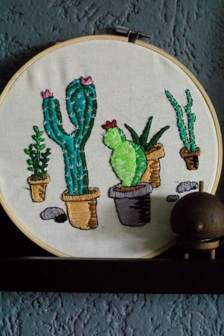 Kaktus Kakteen Sticken Stickbild Stickrahmen-2