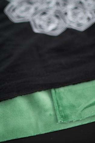 Kissen DIY Nähen Sticken Hotelverschloss schwarz weiß grün Samt-8