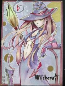 Witchcraft sketch card by Helga Wojik.