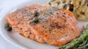 light pan-seared salmon with capers for dinner