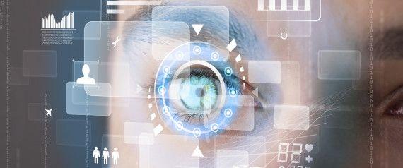Futuristic modern cyber man with technology screen eye panel