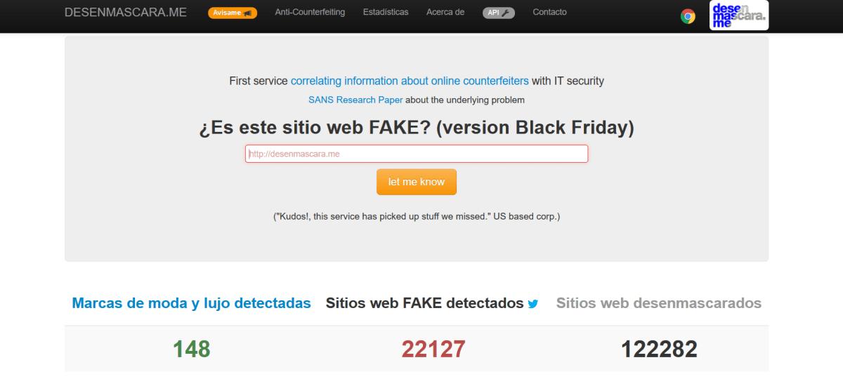 Desenmascara.me, la web que te ayuda a detectar si la web dónde vas a comprar es falsa.