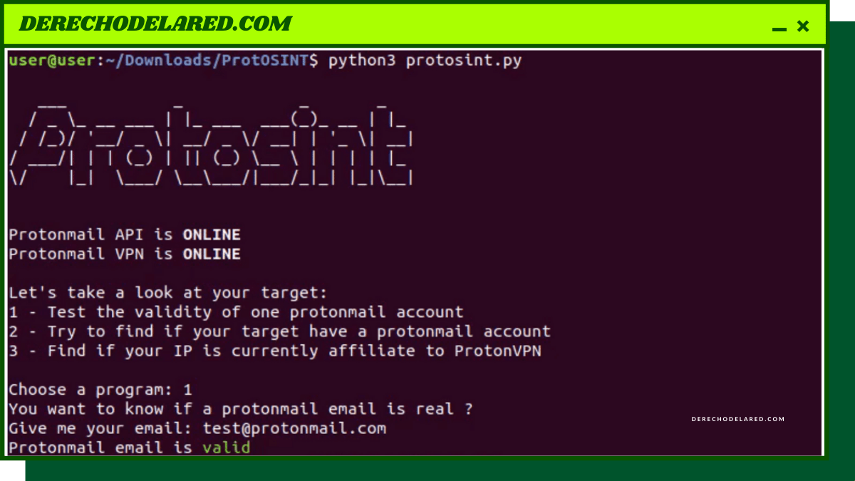 ProtOSINT, un script que te ayuda a investigar cuentas de ProtonMail y las IP de ProtonVPN.