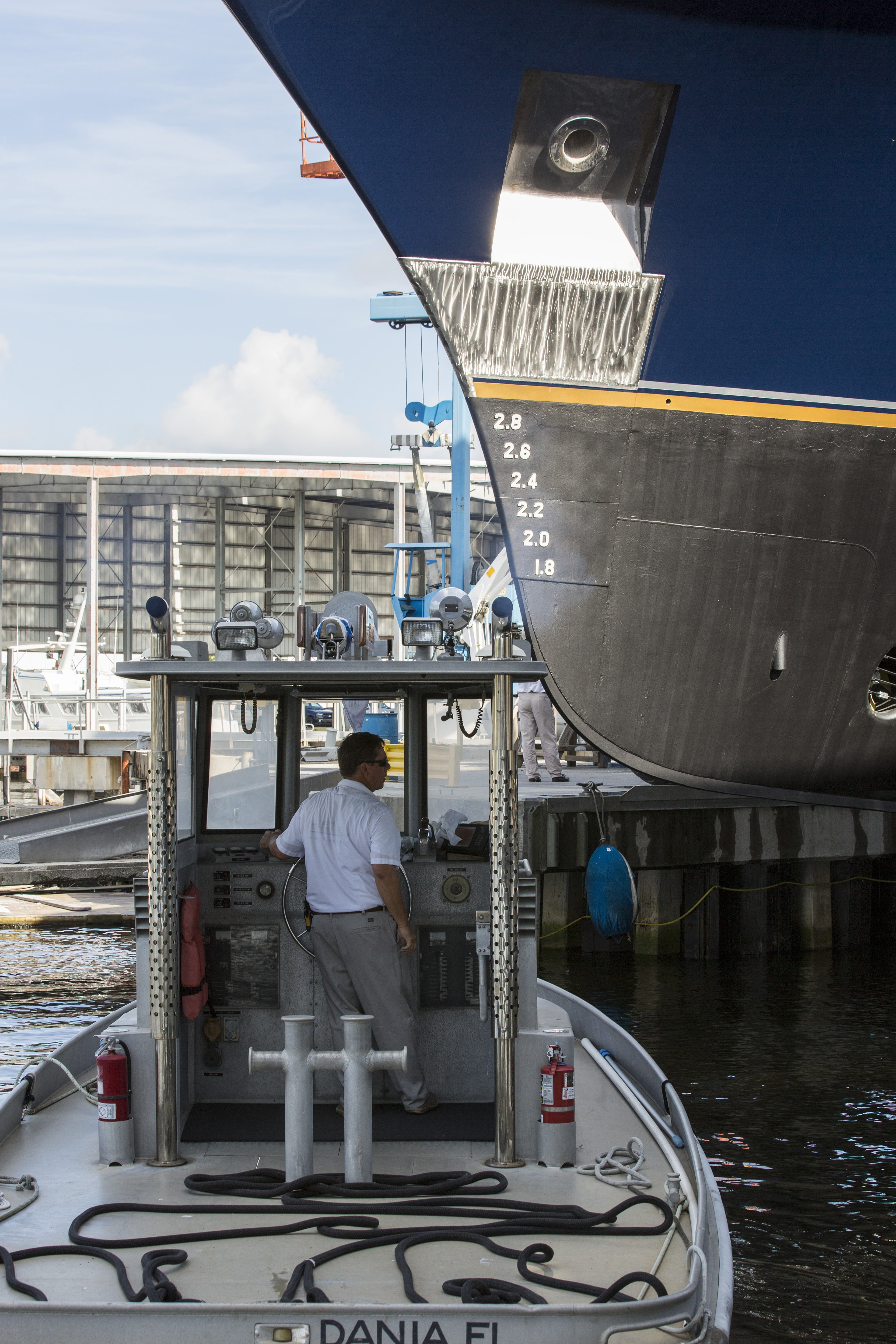 Derecktors Shipyard in Fort Lauderdale moves M/Y Lady Rose into the water after a major refit.