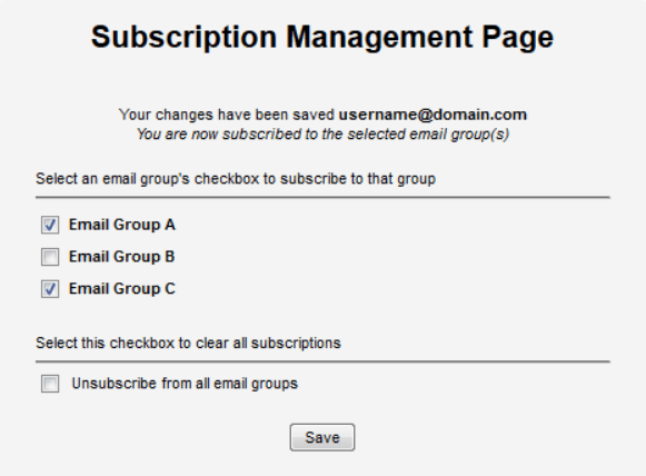 Subscription Management Page