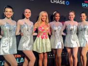 Nastia and The Rockettes in the premiere of Spring Spectacular - March 26, 2015 Courtesy: Rockettes twitter