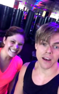 Derek and a fan after the first class of Move Interactive on August 4, 2016 Courtesy derekhough snapchat