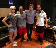 """""""Honored to be working on my second project with @derekhough Also super pumped on being able to bring on board two of the most phenom steppers I know, @jnious and @khalidfreeman READY!!!!!!!!!!!!!! Check out @caleyandkelsey to see the BTS of today!!! #stepping #bodypercussion #derekhough #molodi #soulclap #dance #bts #recording #tap #tapdance #dancelife #hollywood #caleyandkelsey #worldofdance #tv #performance @go2talent"""" - August 15, 2016 Courtesy kelseymccowan IG"""