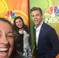 """""""Fun times with #derekhough and #maddiebaillio at #nbc #tca #beverlyhilton #beverlyhills #hairspraylive"""" - August 2, 2016 Courtesy ninaprommer IG"""