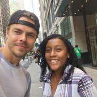 """OMG!!!! Can't believe that I ran into DEREK HOUGH in NYC!!🙈🙊he was so nice!!! #dwts23 #derekhough #hairspraylive #surprise #bestdayever"" - September 6, 2016 Courtesy gila_14 IG"