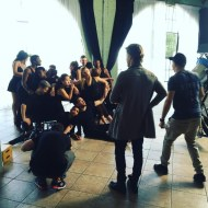 """@derekhough giving the dancers some notes on the set of our latest collaboration! Derek is so awesome to work with. Nice and Talented and really hard working! Can't wait to share our last few projects with you. Directed by @adammargolisproductions and produced by @jewishfoodbear @bigmanshorts. Thanks to @hqavalonstudios"" - September 2, 2016 Courtesy bigmanproductions IG"