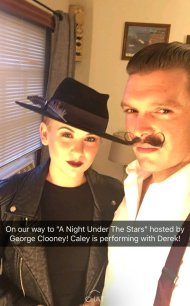 Caley and Kelsey, on their way to Hollywood's Night Under the Stars event - October 1, 2016 Courtesy CaleyandKelsey Snapchat
