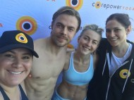 """Thank you to our beautiful students, Julianne and Derek Hough, for lifting the vibrations through the roof in our studio this morning/afternoon! We 💖you both! #moveinteractive #corepoweryoga @corepoweryoga @juleshough @derekhough #dance #yoga #movement #celebrate"" - March 11, 2017 Courtesy schmookieandwookie IG"