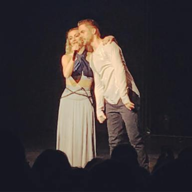 """""""LOVED the show. It was amazing. I loved the feelings you felt during the dances, I loved the interaction with the audience and all the little """"mishaps"""" like Julianne's shoe coming off and all her klutzy exit at the end. Lol. But most of all J loved that they encourage people to feel and love. #derekhough #juliannehough #movebeyond #movebeyondtour @derekhough @juleshough"""" courtesy sandyliles ig"""
