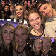 """Thank you so much @juleshough @derekhough for taking pics after the show! #MoveBeyond was SO GOOD. I loved every minute. Julianne- thank you for liking/commenting on my pic earlier! I loved meeting you and getting to tell you about this fanpage. I absolutely LOVE having this account and posting pics/videos every day. You are the main reason for this account, and I wanna thank you and Derek for being huge inspirations for so many, including me. Love you guys so much! 😘❤️ Motion = Emotion 😄 #JulianneHough #DerekHough"" Courtesy juliannehough__ ig"