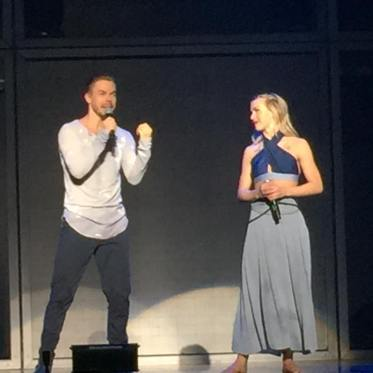 """Motion equals emotion!!!! @derekhough @juleshough #movebeyond #moveliveontour #movedancers #pinkshirtgirl"" Courtesy cldancer ig"