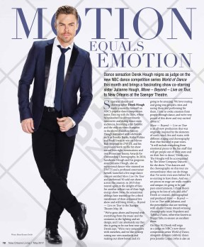 "Derek Hough featured on ""New Orleans Living"" - May 2017"