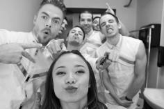 """""""Ready to hit #Show46 with these fellas! * * * #MoveBeyond #MoveLiveonTour #meraki #lovewhatido #juliannehough #derekhough #houghed #fbf"""" Courtesy paulinemata ig"""