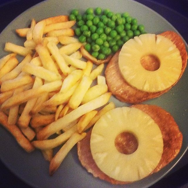 Quorn gammon steaks, pineapple, chips and peas. Thanks @m4rkym - from Instagram