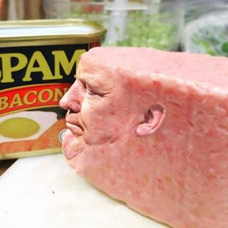 Donald Trumps image has been found inside a tin of Spam - from Instagram