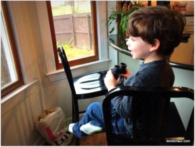 David watching the bird feeder