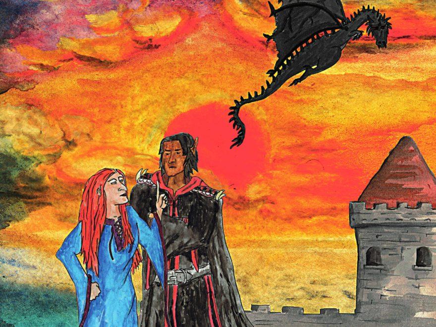 Eine rothaarige Hexe im blauen Kleid mit großer Nase streitet mit einem Elben mit schwarzen Haaren in einer schwarzroten Robe. Darüber fliegt ein schwarzer Drache.