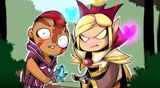 Zwei Dota2 Charaktere, die mich zur Geschichte inspiriert haben: Kael the Invoker, ein Elb mit platinblonden Haaren in einer schicken Magierrobe mit aufgestelltem Kragen und Magina the Antimage, ein Mönch mit dunkler Haut, rot-braunem Iro, Tätowierungen im Gesicht und einer violetten Tunika. (Comicstil)