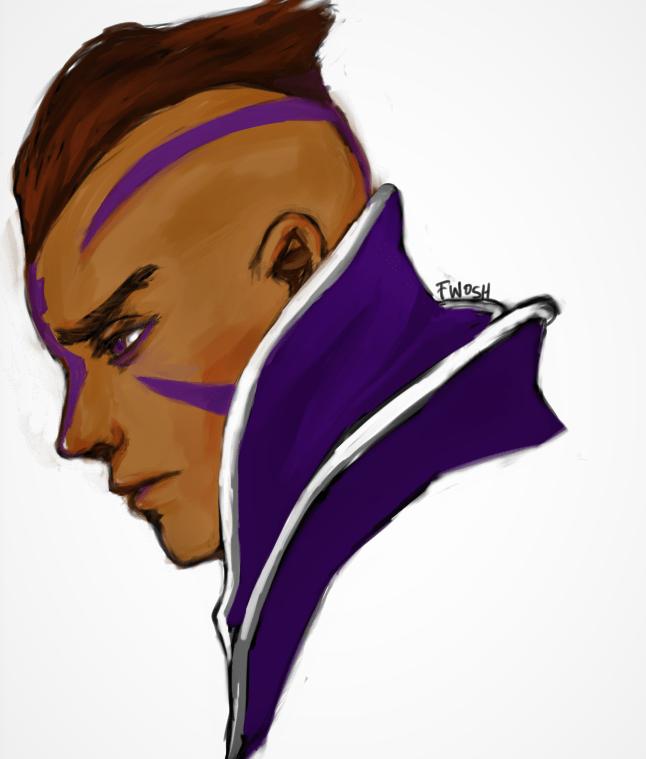 Magina the Antimage aka Bendix, der Hexenjäger. Ein bekannter Held aus dem Dota 2 Universum. Auf dem BIld trägt er -- wie so oft -- eine violette Tunika und einen rot-braunen Irokesenschnitt. Seine Haut ist braun, im Gesicht hat er violette Tätowierungen.