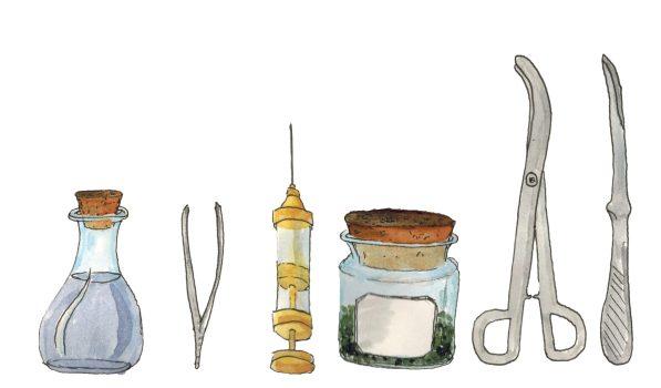 Altmodische Arztinstrumente: ein Zaubertrank, eine Pinzette, eine Spritze, ein Skalpell
