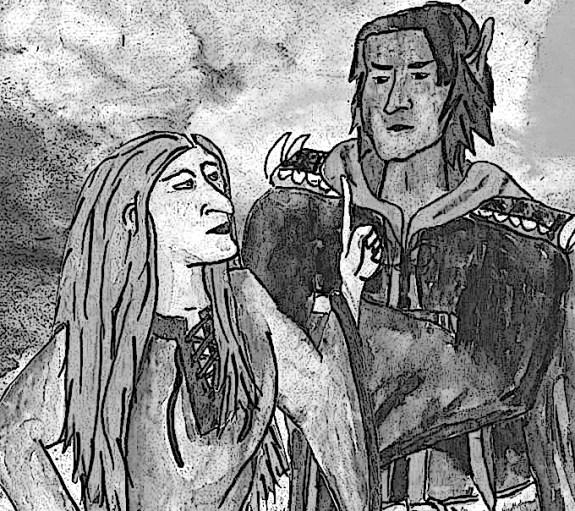Die beiden Protagonist:innen des Buches -- Klara und Iònatan -.- sind in eine Diskussion verwickelt. Das Bild ist eine schwarz-weiß Zeichnung und zeigt Klara eine Hexe mit großer Nase und Iònatan, einen schwarzhaarigen Elb.