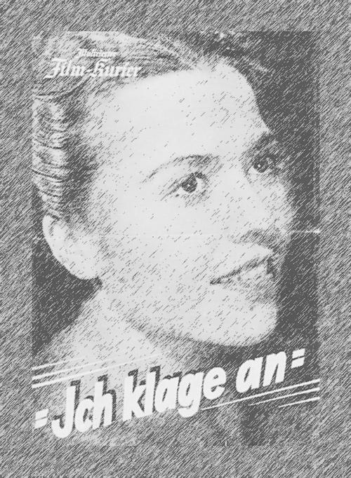"""Filmplakat """"Ich klage an"""" D 1941 mit schönem jungem Frauengesicht."""