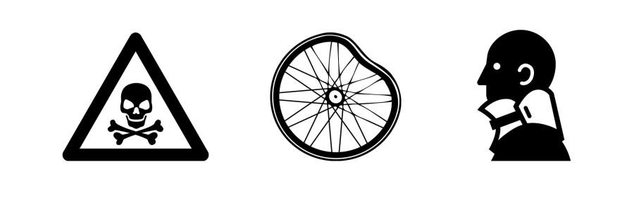 Icons: Gefahr, kaputtes Rad, Mensch mit medizinischer Halskrause