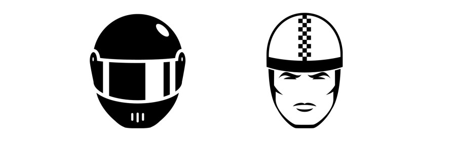 Icons: Integralhelm, Halbschale