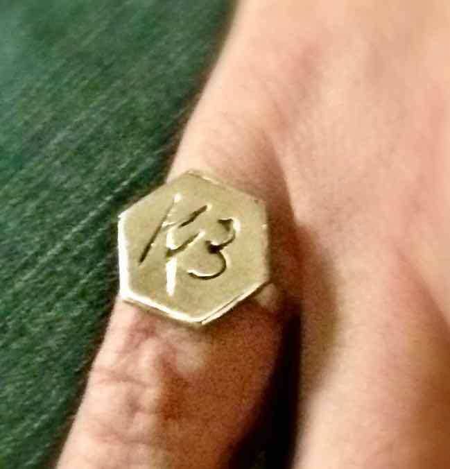 Monogramm-Ring sechseckig