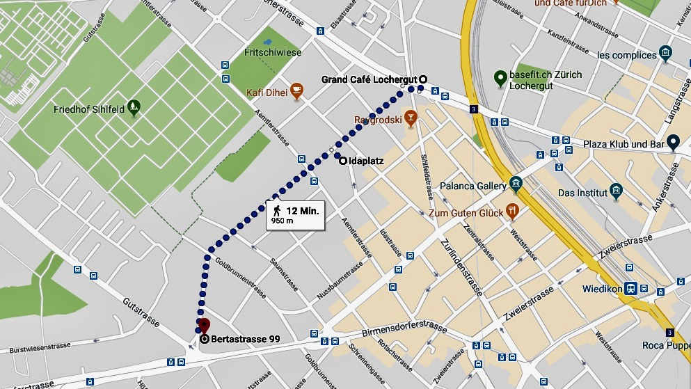 Karte zur Bertastrasse Zürich