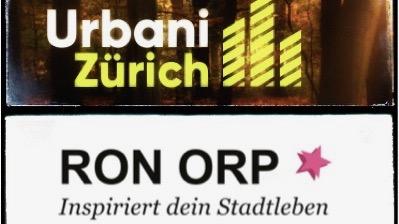 Ron Orp Urbani, die Logos von zwei Stadt-Newsletters in Zürich
