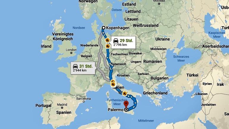 Europäischer Roadtrip von Kopenhagen bis nach Palermo