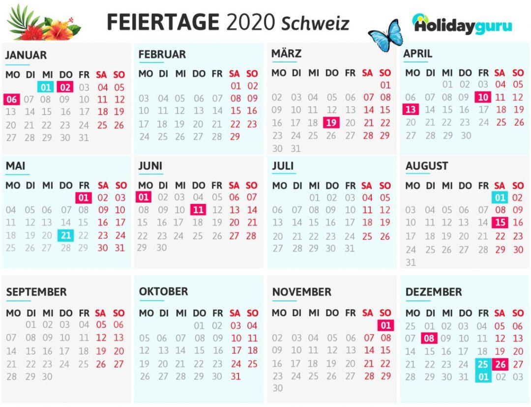 Brueckentage-Kalender für das Reisejahr 2020