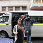 Exiting a taxi, having taken public transport