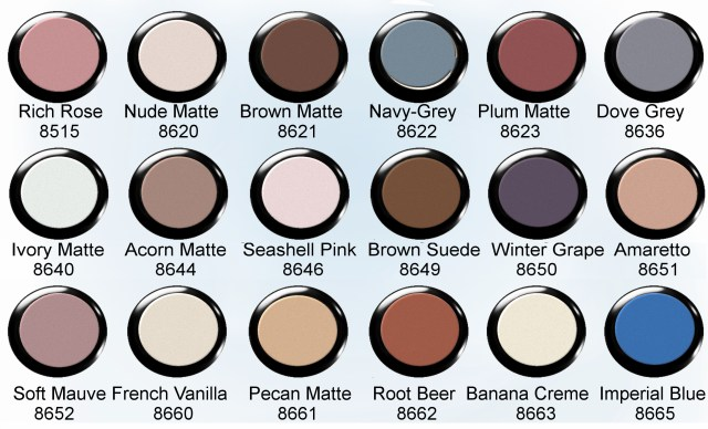 13 Eye Shadow Matte Finish  Color Chart
