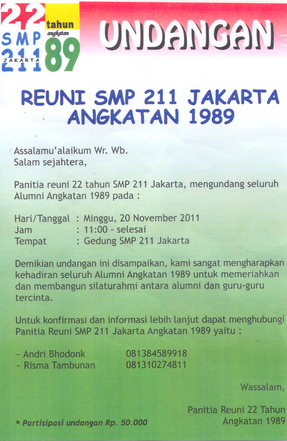 Undangan Reuni Dermaga71