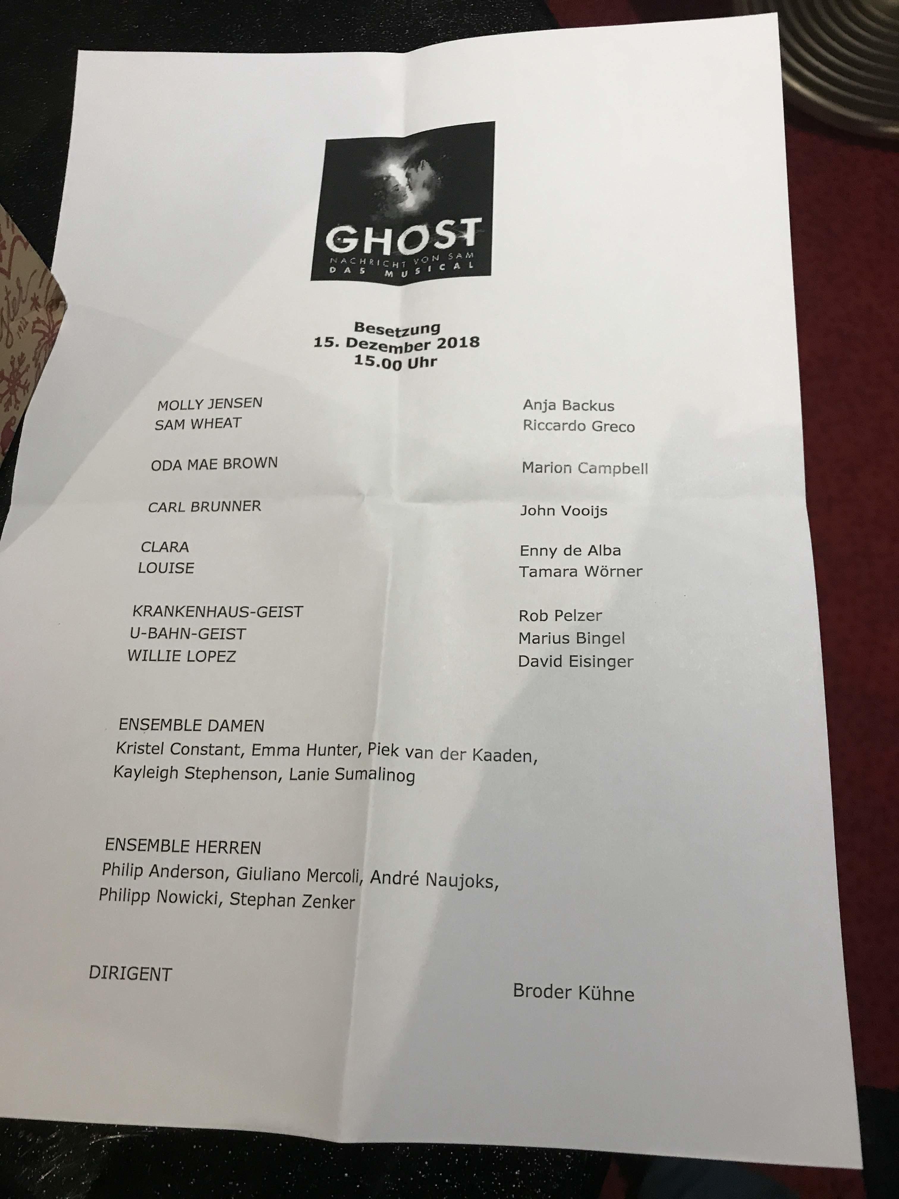 Besetzung am 15.12.2018 im Stage Operettenhaus