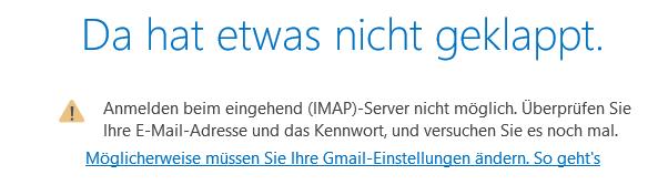 Outlook 365 und Apple Mail Fehler bei Verbindung zu googlemail.com