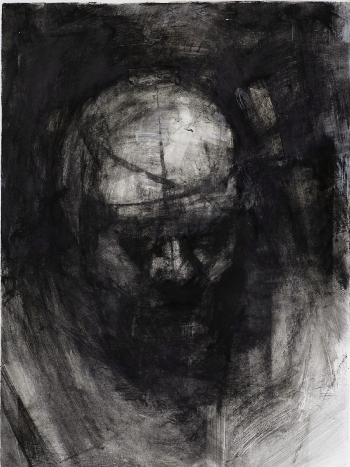 "Threshold, Head Shot 1. 30"" x 22"". Handmade charcoal and clear gesso on paper."